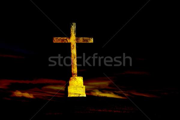 Atravessar cristão nuvens sépia céu pôr do sol Foto stock © zittto