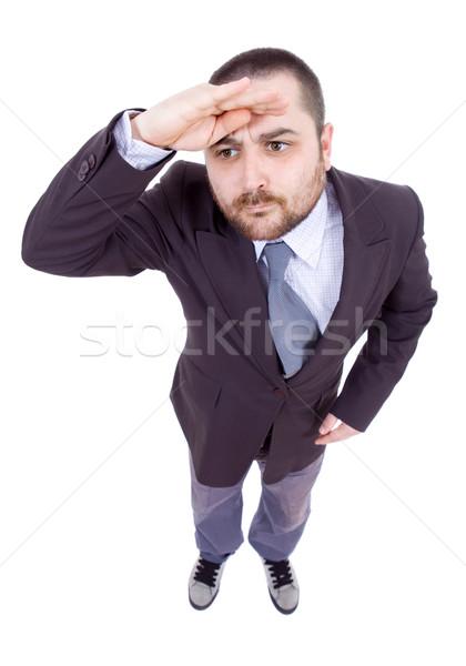Dom man jonge zakenman geïsoleerd Stockfoto © zittto