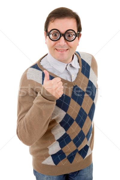 Geek człowiek odizolowany biały moda Zdjęcia stock © zittto