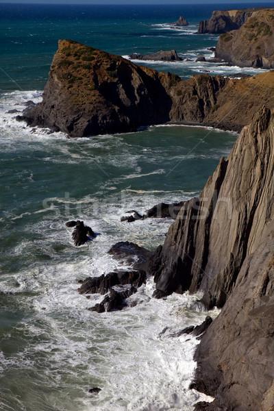 Sahil güney ülke plaj gün batımı mavi Stok fotoğraf © zittto