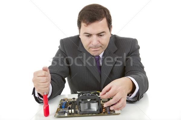 Placa-mãe computador engenheiro trabalhando isolado trabalhar Foto stock © zittto