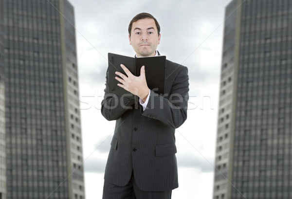 Işadamı dalgın kitap ofis iş yürütme Stok fotoğraf © zittto
