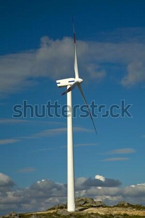 ветровой турбины белый Top горные природы зеленый Сток-фото © zittto