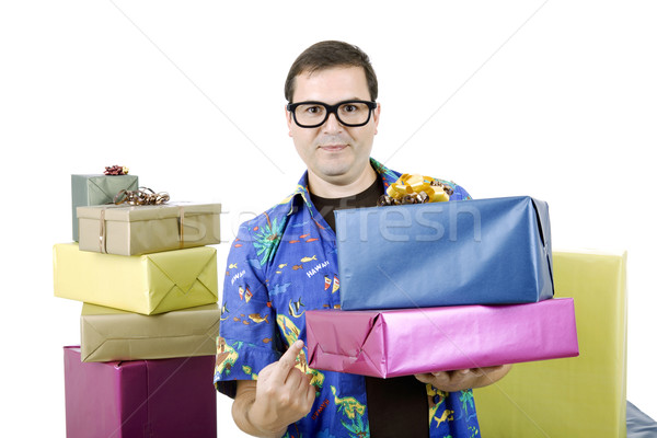 продавцом счастливым глупый коробки изолированный белый Сток-фото © zittto