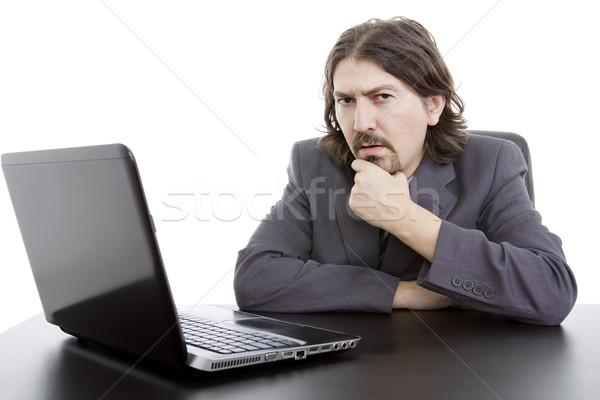 Trabalhando jovem homem de negócios laptop isolado escritório Foto stock © zittto