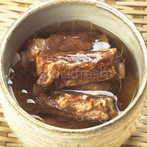 Disznóhús borda húsleves közelkép ázsiai étel Stock fotó © zkruger