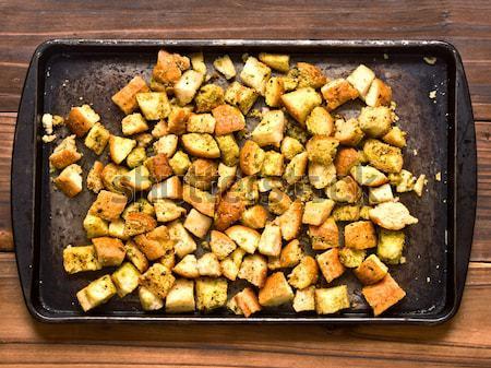 Stockfoto: Dienblad · rustiek · rosmarijn · aardappel