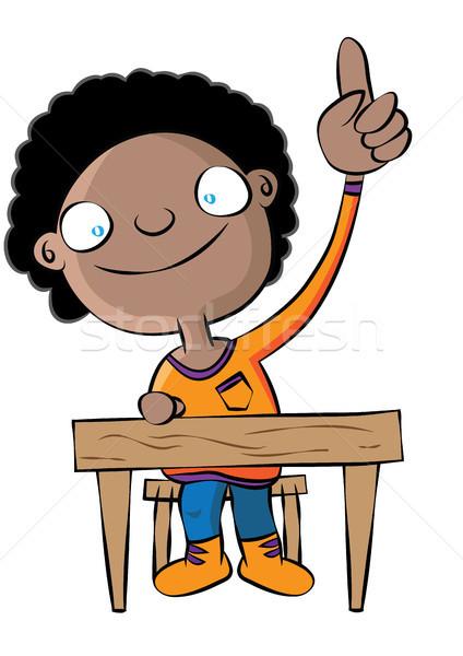 cute black school girl raise hand in class  Stock photo © zkruger