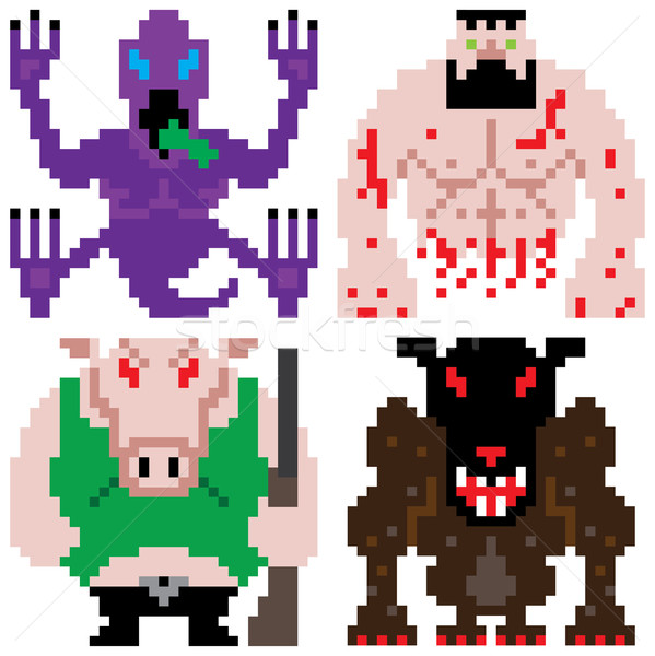 worse terror horror monster retro computer eight bit pixel art Stock photo © zkruger