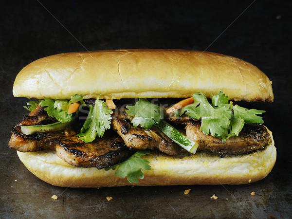 rustic vietnamese bahn mi pork sandwich Stock photo © zkruger