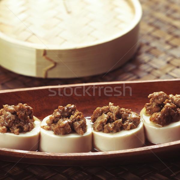 Gedämpft Tofu chinesisch Makro Ernährung Stock foto © zkruger