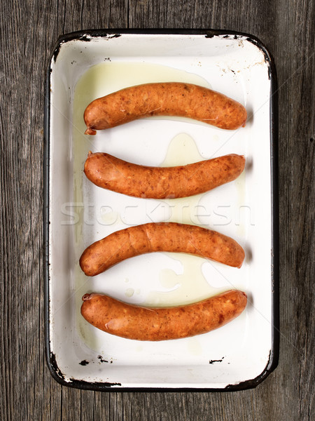 Stock photo: tray of rustic uncooked sausages