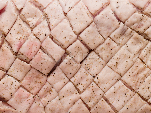 raw uncooked seasoned scored pork belly skin background Stock photo © zkruger