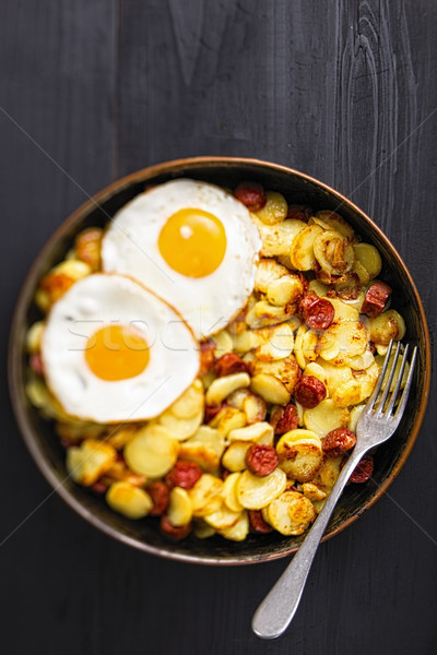 rustic sausage hash breakfast Stock photo © zkruger