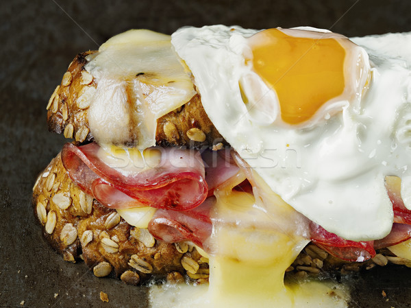 rustic french sandwich croque madam Stock photo © zkruger