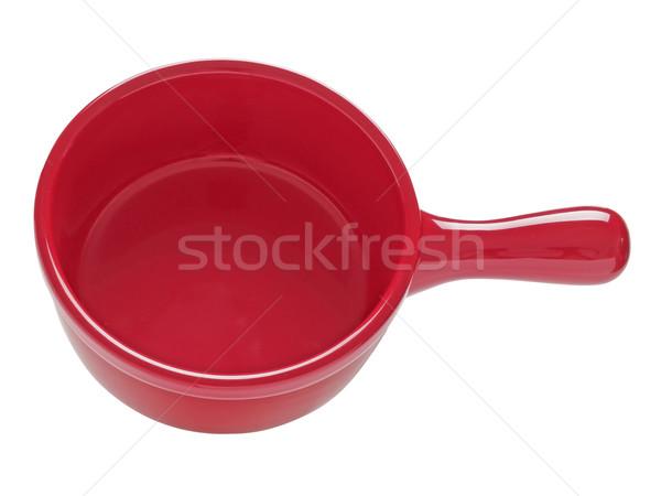 Piros kerámia agyag edény közelkép izolált Stock fotó © zkruger