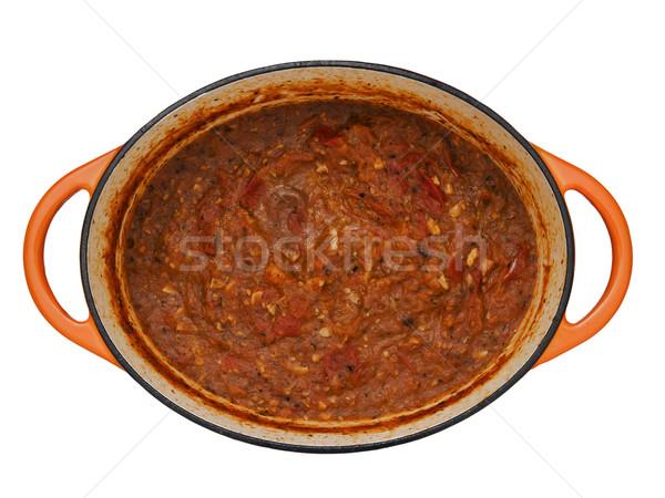 Fatto in casa salsa di pomodoro pot pizza sfondo Foto d'archivio © zkruger