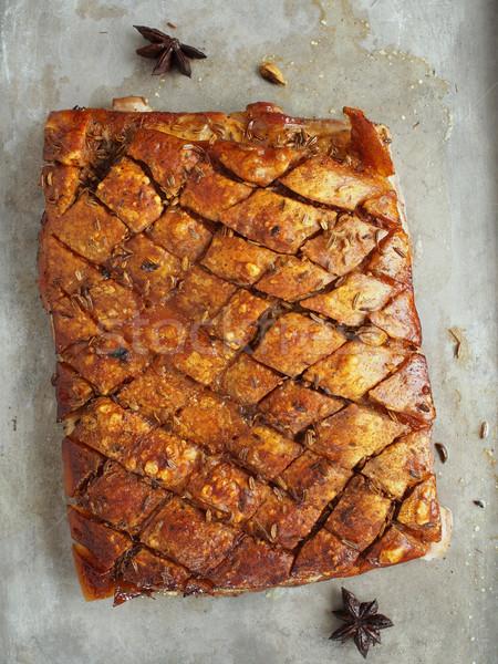 rustic golden roasted pork belly Stock photo © zkruger