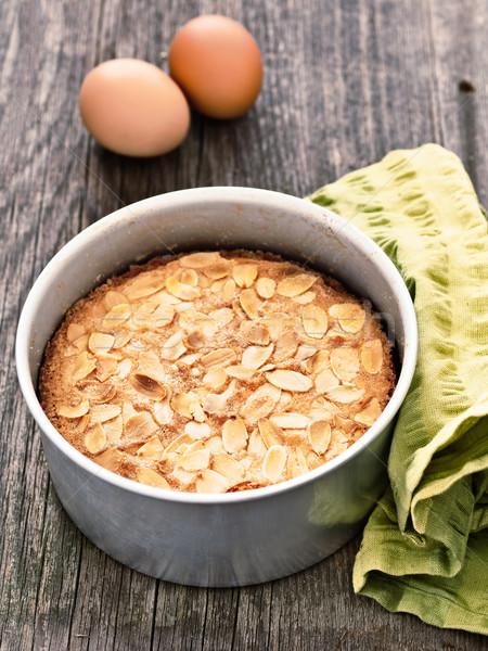 rustic swedish almond cake in baking tin Stock photo © zkruger