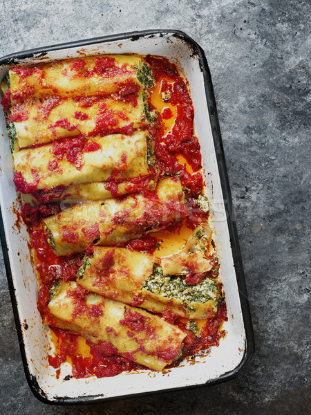 rustic italian spinach ricotta cannelloni pasta Stock photo © zkruger
