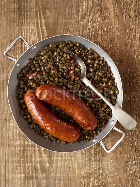 Stock photo: rustic sausage with lentil