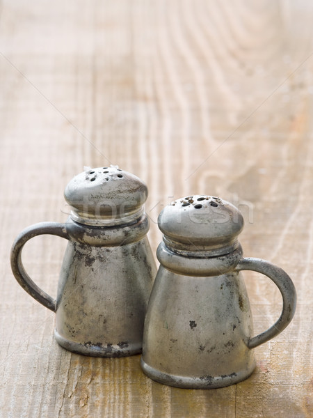 rustic salt and pepper shaker Stock photo © zkruger