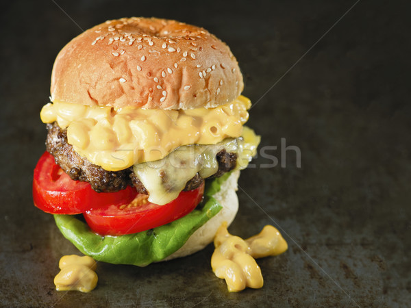 Stockfoto: Rustiek · amerikaanse · Mac · kaas · hamburger