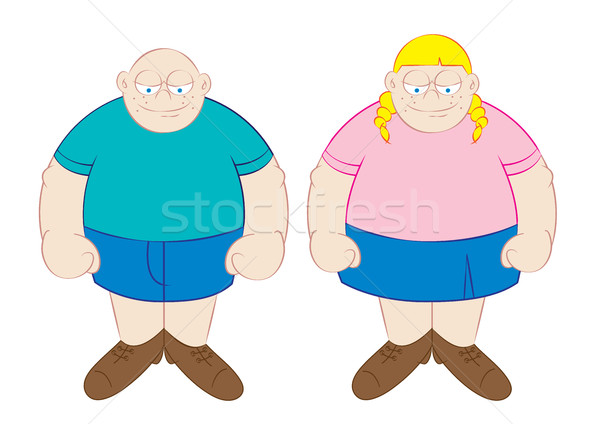 funny fat boy and girl cartoon  Stock photo © zkruger