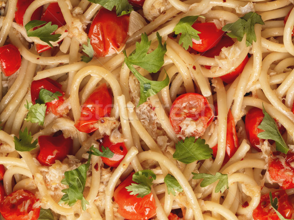 italian crab and cherry tomato spaghetti pasta food background Stock photo © zkruger
