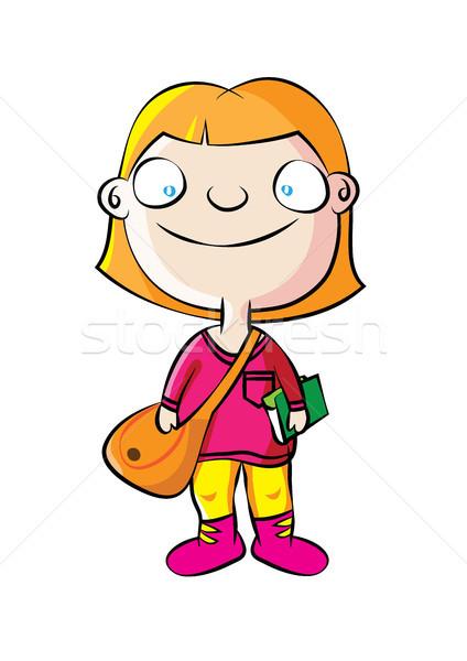 Cute biały uczennica szkoły worek kolor Zdjęcia stock © zkruger