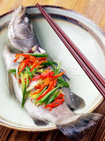 Asian gestoomd vis hot rijst Stockfoto © zkruger