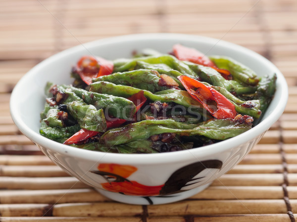 rustic chinese long snake bean stir fry Stock photo © zkruger