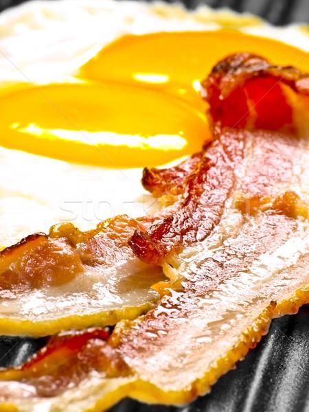 Bacon ovos comida café da manhã gordura Foto stock © zkruger