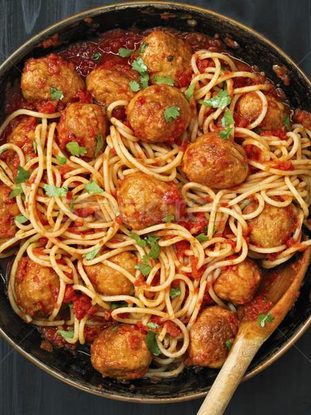 Rusztikus spagetti paradicsomszósz közelkép étel labda Stock fotó © zkruger