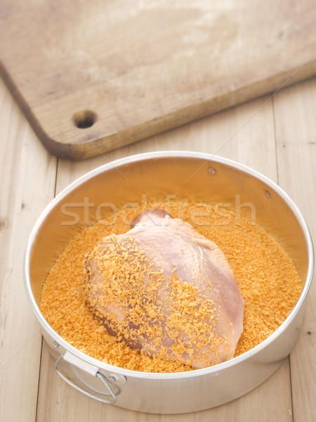 Nyers csirkemell közelkép étel tyúk kenyér Stock fotó © zkruger