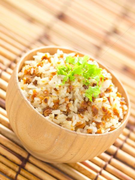Сток-фото: чеснока · жареный · риса · чаши · продовольствие
