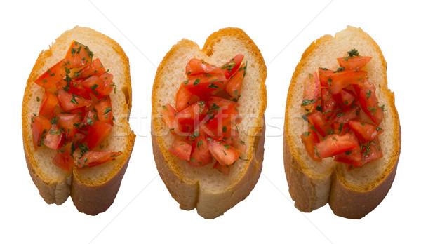 Bruschetta ekmek yalıtılmış beyaz kırmızı Stok fotoğraf © zkruger