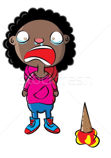 Huilen jonge zwarte meisje gedrag beheer Stockfoto © zkruger