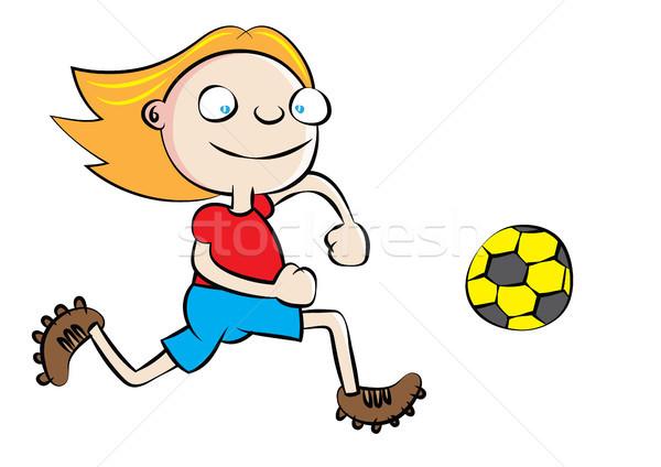 Grappig witte schoolmeisje spelen voetbal school Stockfoto © zkruger