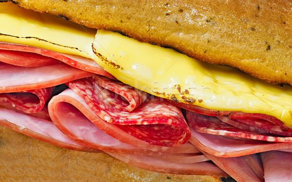 rustic deli cold cuts sandwich Stock photo © zkruger
