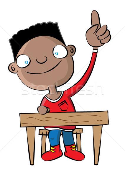 Aranyos fekete iskolás fiú kéz osztály iskola Stock fotó © zkruger