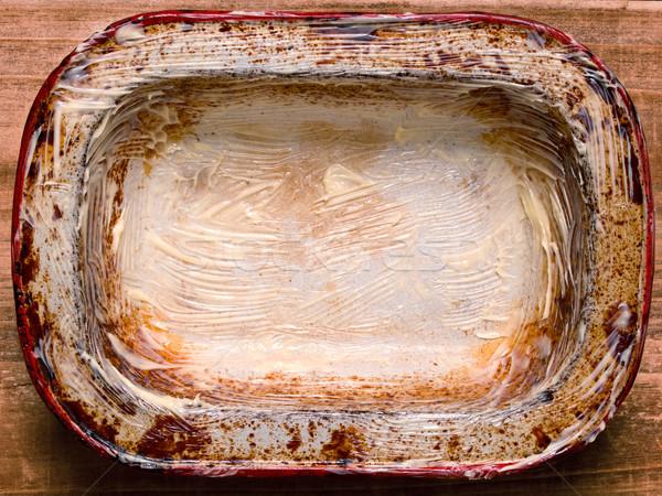 Rustiek haveloos taart schaal tin Stockfoto © zkruger