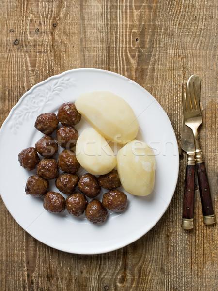 rustic swedish meatball and potato Stock photo © zkruger