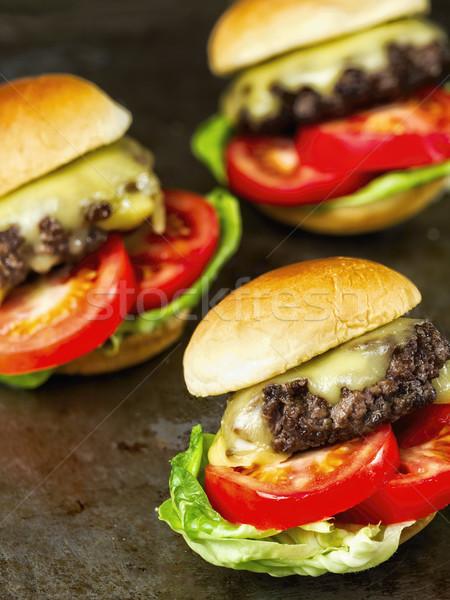 rustic american slider sandwich mini hamburger Stock photo © zkruger