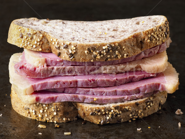 rustic american deli corned beef sandwich Stock photo © zkruger