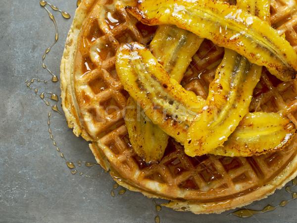 Rustique sweet banane gaufre sirop Photo stock © zkruger