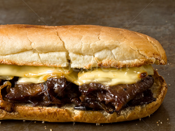 rustic philly cheese steak sandwich Stock photo © zkruger