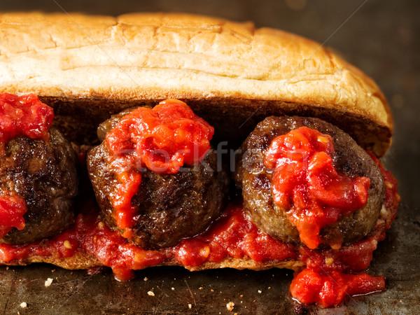 rustic american italian meatball sandwich Stock photo © zkruger