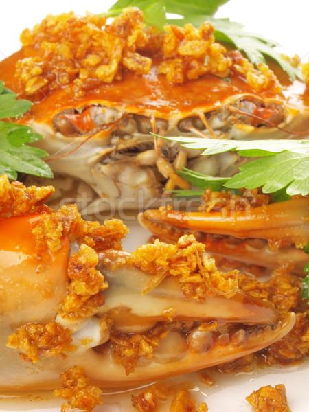Párolt rák fokhagyma mártás közelkép vacsora Stock fotó © zkruger