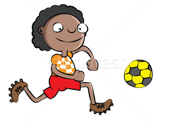смешные черный школьник играет Футбол школы Сток-фото © zkruger